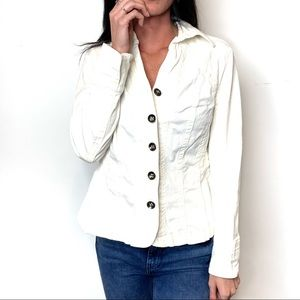🛍TRIA womans white cotton slim fitted jean jacket